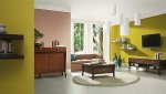 Salon, kolor zielony i brązowy